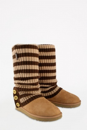 Striped Rib Knit Cardy Socks