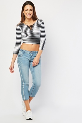 Lurex Side Crop Jeans