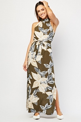 Maxi Tropical Print Dress