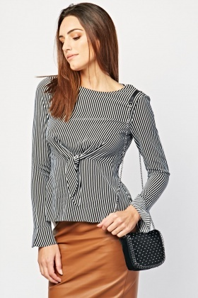 Tie Up Front Striped Top