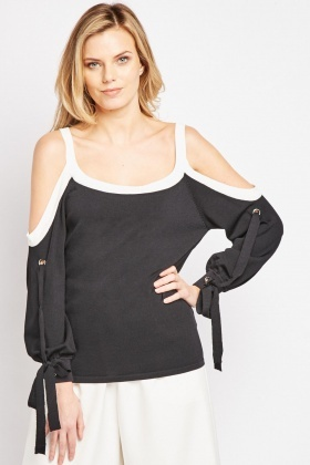 Tie Up Sleeve Cold Shoulder Top