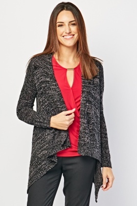 Two Tone Draped Cardigan