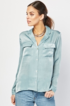 Jade Sateen Blouse