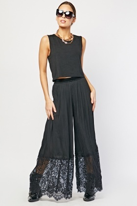 Lace Hem Pleated Palazzo Trousers