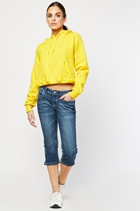 Low Waist Crop Denim Trousers