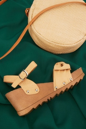 Bow Detail Studded Wedge Sandals $6.40