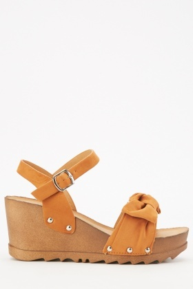 Camel Suedette Bow Wedge Sandals $6.40