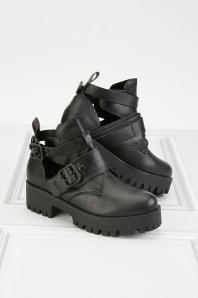 Chunky Buckle Detail Biker Boots