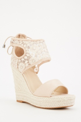 Crochet Net Detail Wedge Sandals $6.40