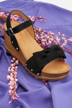 Knotted Velveteen Wedge Sandals $6.40