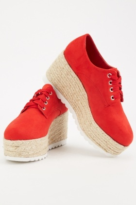 Red Chunky Wedge Shoes $6.40