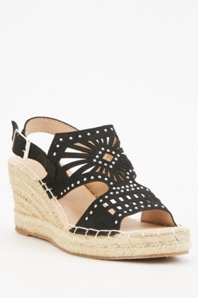 Studded Laser Cut Wedge Sandals $6.40