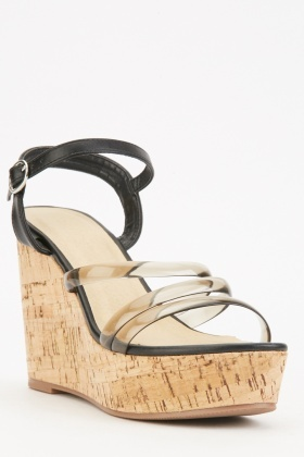 Vinyl Strap Wedge Heel Sandals $6.40