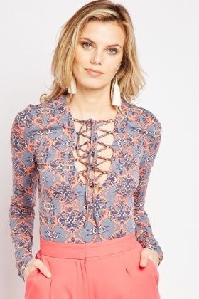 Lace Up Tile Printed Top