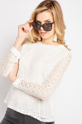 Off White Crochet Top