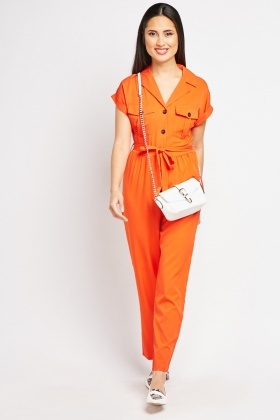 Belted Orange Utility Jumpsuit