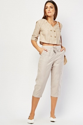 Oversized Front Pockets Cotton Trousers