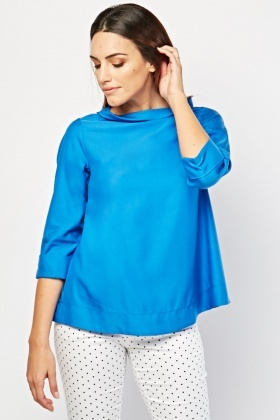 Slouchy Neck Blue Top