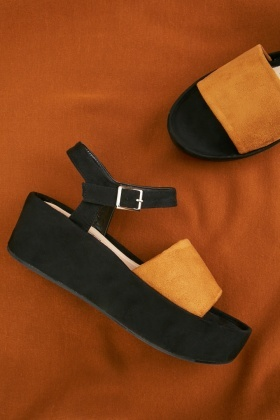 Colour Block Suedette Sandals