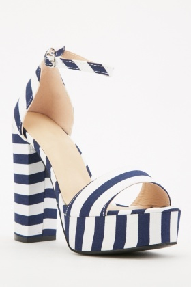 Novelty Stripe Platform Sandals