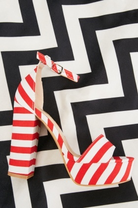 Striped Platform Heel Sandals