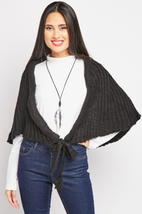 Chunky Tie Up Knitted Cape