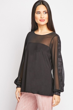Contrasted Sleeve Sheer Blouse