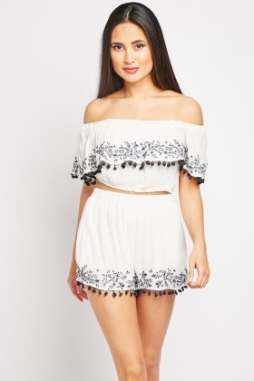 Embroidered Crop Top And Shorts Co-Ords