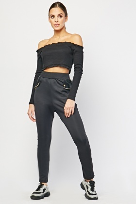 Faux Leather Strip Panel Trousers