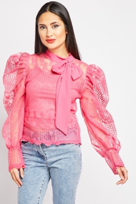Tie Up Embroidered Lace Blouse