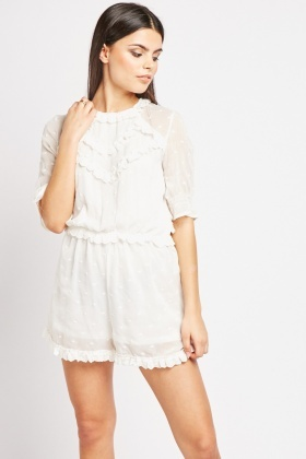 Broderie Anglaise Trim Playsuit