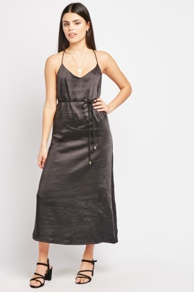 Detailed Strap Sateen Slip Dress