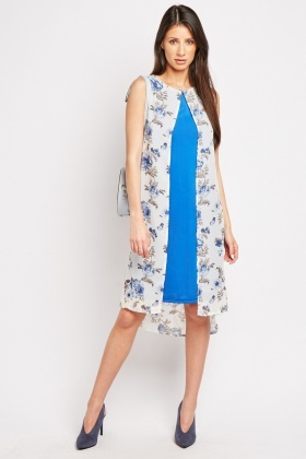 Floral Chiffon Overlay Shift Dress
