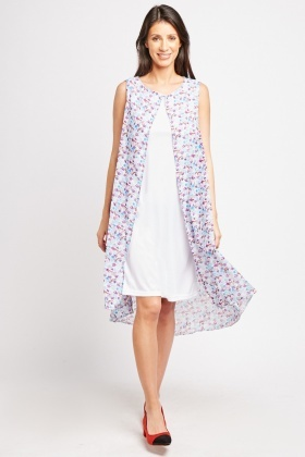 Multi Printed Chiffon Overlay Dress