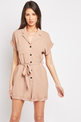 Rolled Hem Utility Playsuit