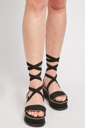 Beaded Trim Wedged Sandals