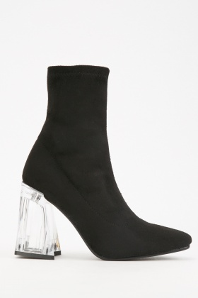 Clear Heel Ankle Boots