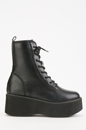 Faux Leather Chunky Lace Up Boots