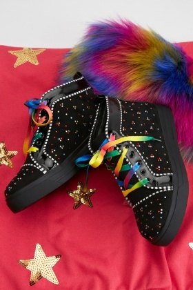 Rainbow Embellished High Top Trainers