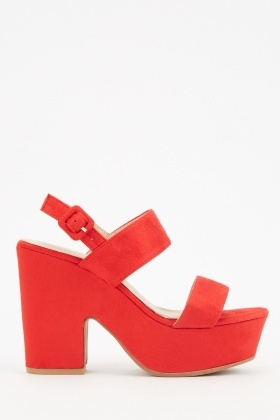 Red Chunky Block Heel Sandals