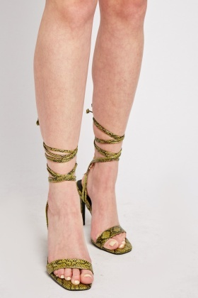 Square Toe Snake Print Heeled Sandals