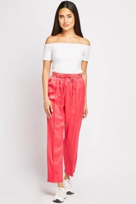 Eyelet Trim Straight Fit Trousers