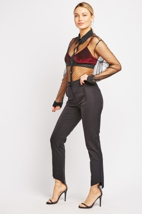 Asymmetric Hem Cigarette Trousers