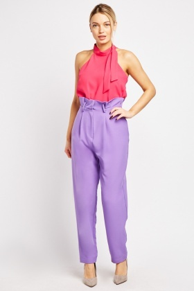 High Waist Tapered Peg Trousers