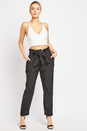 High Waisted Straight Cut Trousers