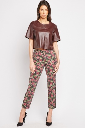 Lily Flower Print Textured Trousers