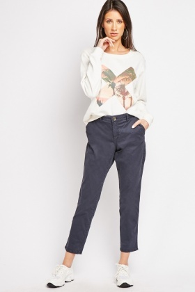 Low Waist Cropped Chino Trousers