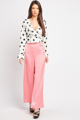 Popper Trim Wide Leg Trousers