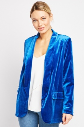 Shawl Collar Crush Velveteen Blazer