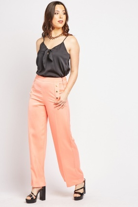 Wide Leg Button Detail Silky Trousers